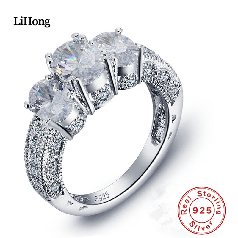 Luxury Brand Jewelry 100% 925 Sterling Silver Ring AAA Zircon Crystal Ring Woman Engagement Ring Gift