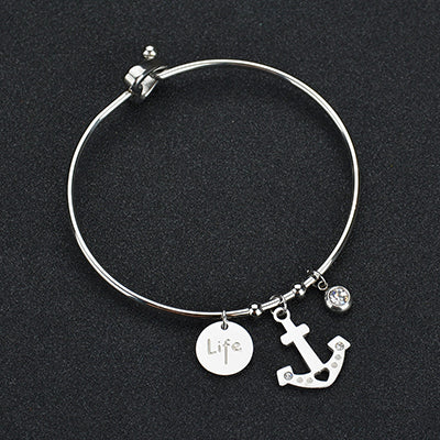 Luxury Brand New Note Anchor Wings Charm Bracelet & Bangle Life Style Stainless Steel Crystal Jewelry For Female Gift Bijoux