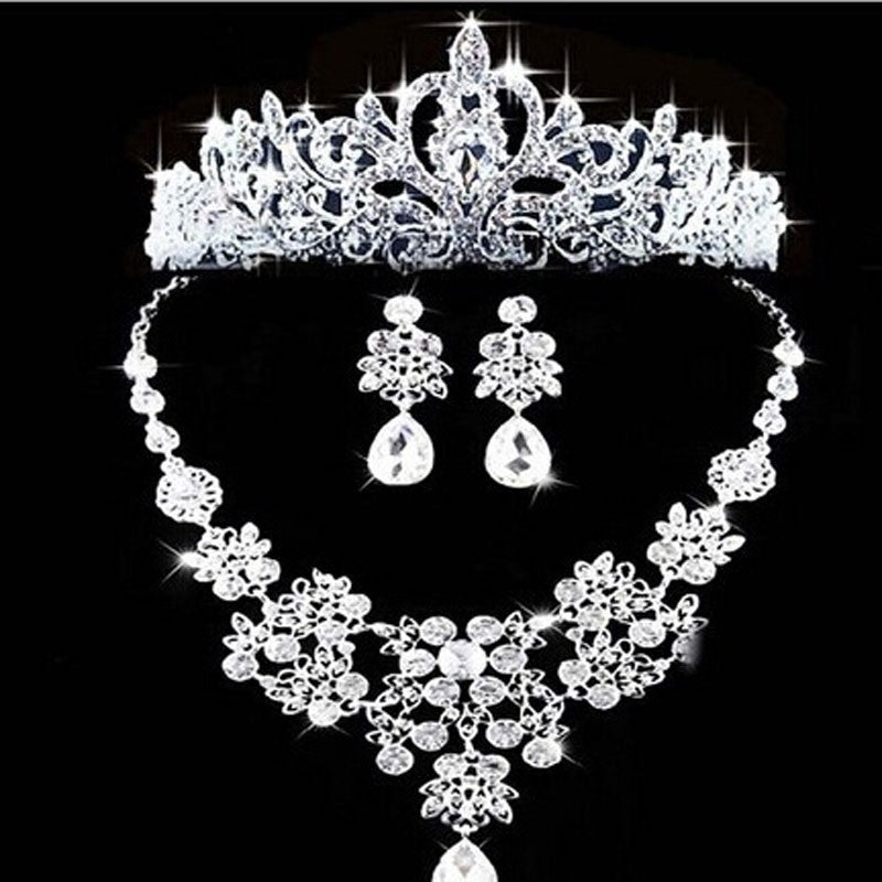 Luxury Fashion 2018 Necklaces Earrings Tiara Rhinestone Crystal Pearl Wedding Bride Party Wholesale Bridal Jewelry Sets