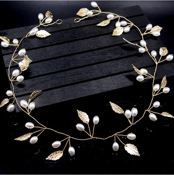Luxury Hair Jewelry Pearl Crystal Leaf  Bride Tiaras Wedding Hair Accessories headdress Gold and Silver Headbands Gift JL