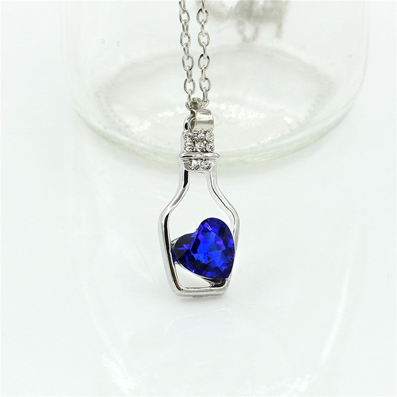 Luxury Jewelry Silver Color with Wish Bottle Inl Love Heart Crystals Vial Pendant Necklace for Women Gift