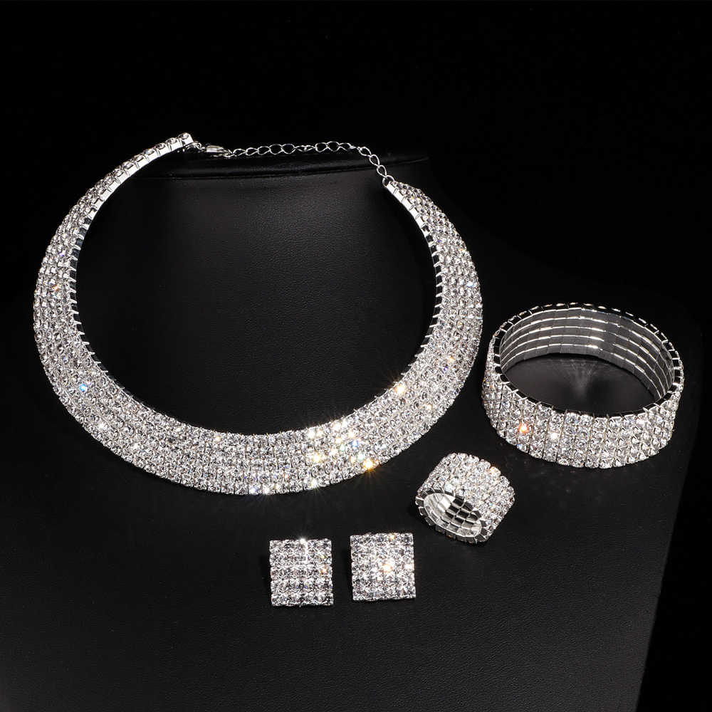 Luxury Romantic Crystal Wedding Jewelry Sets Silver Color Bridal Necklace Earrings Bracelets Ring Sets For Women W001