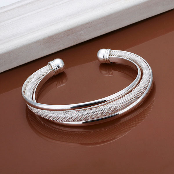 Luxury Silver Plated Cuff Bracelets&Bangles Top New Brand Crystal Simple Twisted Love Charm Bracelet For Women Jewelry