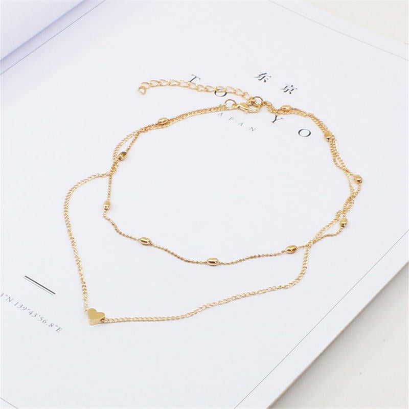 Trendy Multi Layer Little Heart Necklace Women Girls Sweet Jewelry Accessories Female Chain Choker Necklaces