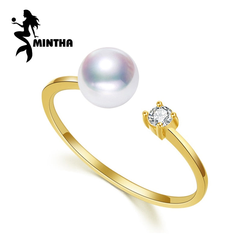 brand 18K yellow gold rings,7-8mm round natural pearl ring for love,bohemian Women 18K Gold Wedding Rings Engagement Ring
