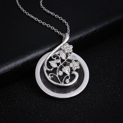 Vintage Magnifying Glass Necklace Flower Vine with Leaves Pendant Necklace Chain Fine Jewelry for Women Jewelry Gift