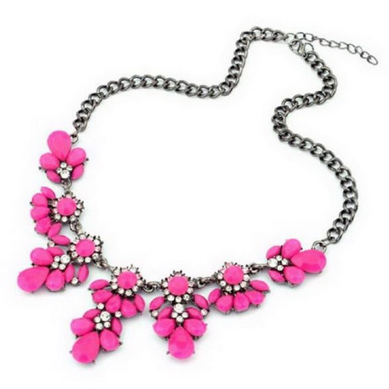 Statement Necklace 1PC Bohemia Yellow/Fuchsia Flower Bib Choker Pendant Chain NEW Fashion Fine Jewelry For Women