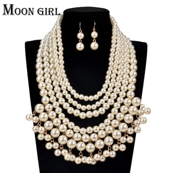 MOON GIRL Pearl choker Nigeria Wedding African Beads Jewelry Set Fashion statement necklace set  for women online shopping india