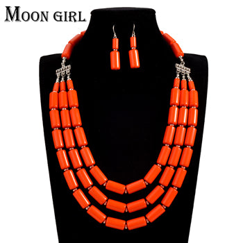 MOON GIRL african Wedding beads jewelry set acrylic beads making statement choker necklace sets for women online shopping india