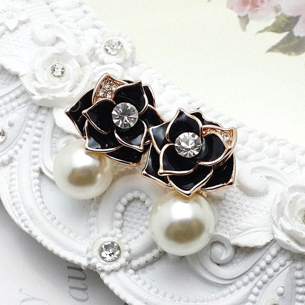 Free Shipping Cubic Zirconia Rose Gold Color Fashion Black Rose Crystal Earrings Simulated Pearl Earrings For Women