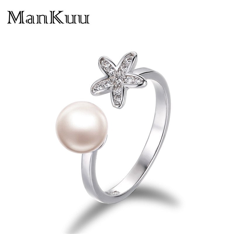 Pearl Silver Starfish Rings 6-7mm Round Natural White Pearl 925 Sterling Silver Wedding Engagement Women Rings