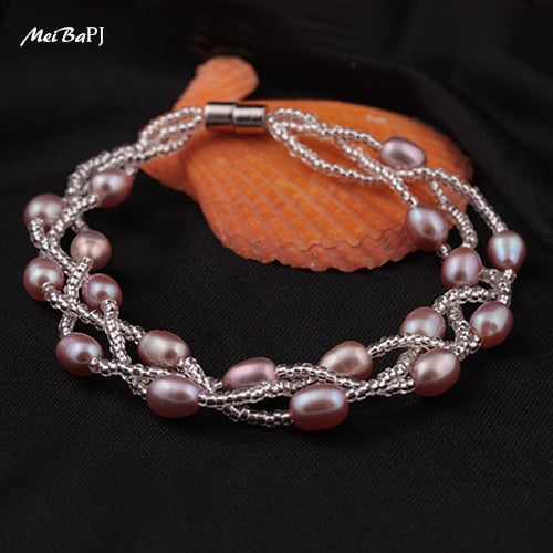 High Quality Lady 4 Colors 5-6mm Pearl Bracelet Pure Handmade Multi Color Small Crystal Bead Bangle For Women SL-095
