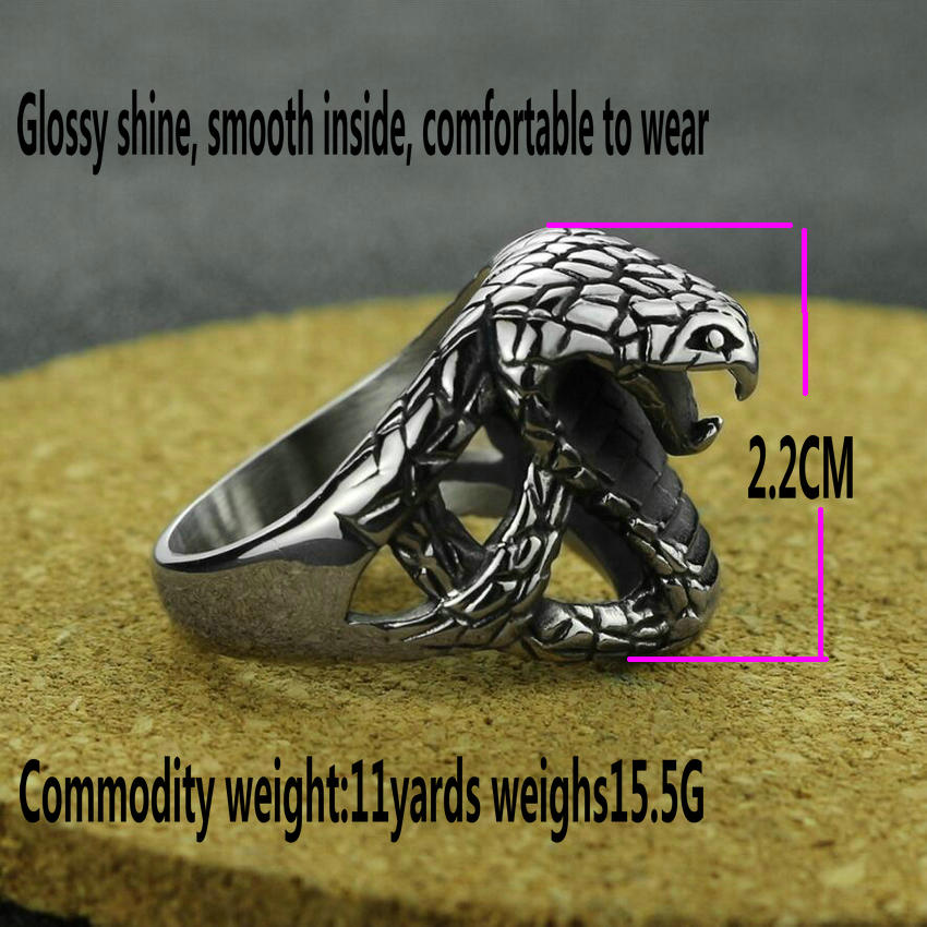 Men's Stainless Steel Cobra Ring Vintage Zodiac Snake Ring Fashion Personality Animal Ring