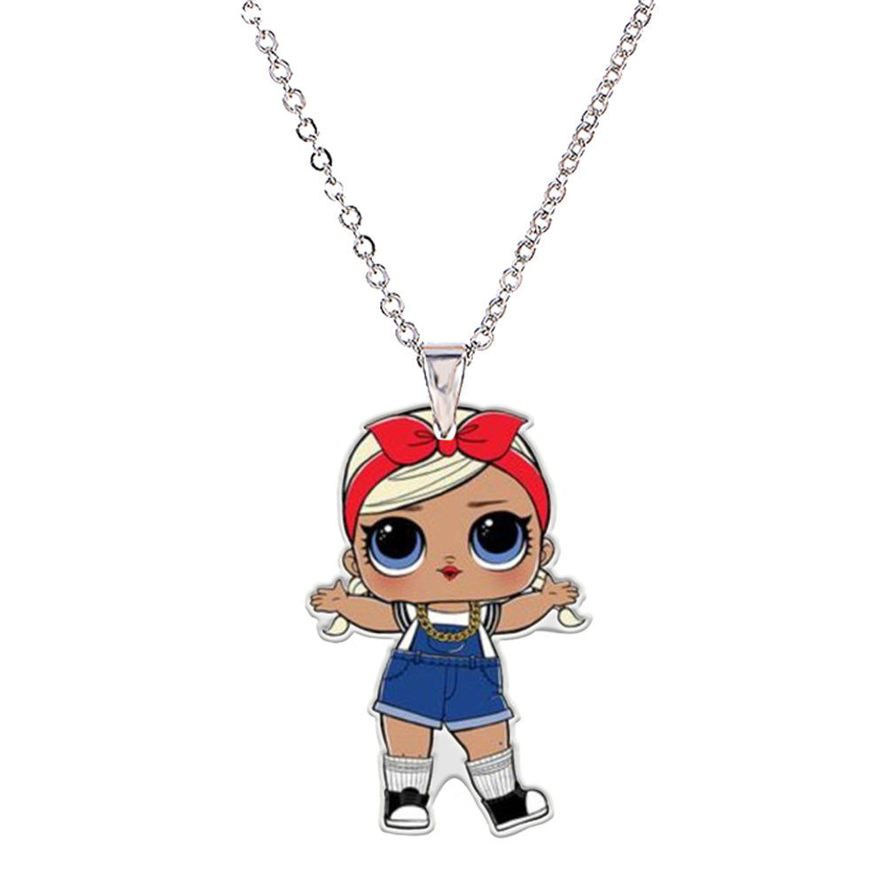 Menglina Acrylic Cartoon Character Girl Pendant Necklace For Children Silver Tone Chain Flat Back Resin Doll Charm Chokers