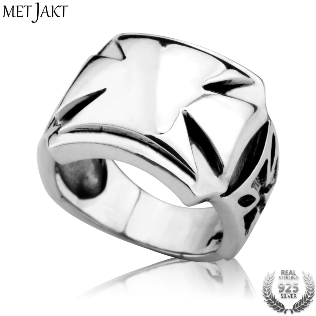 Men's Classic Punk Style Cross Ring Solid 925 Sterling Silver Ring for Man Handmade Personality Jewelry