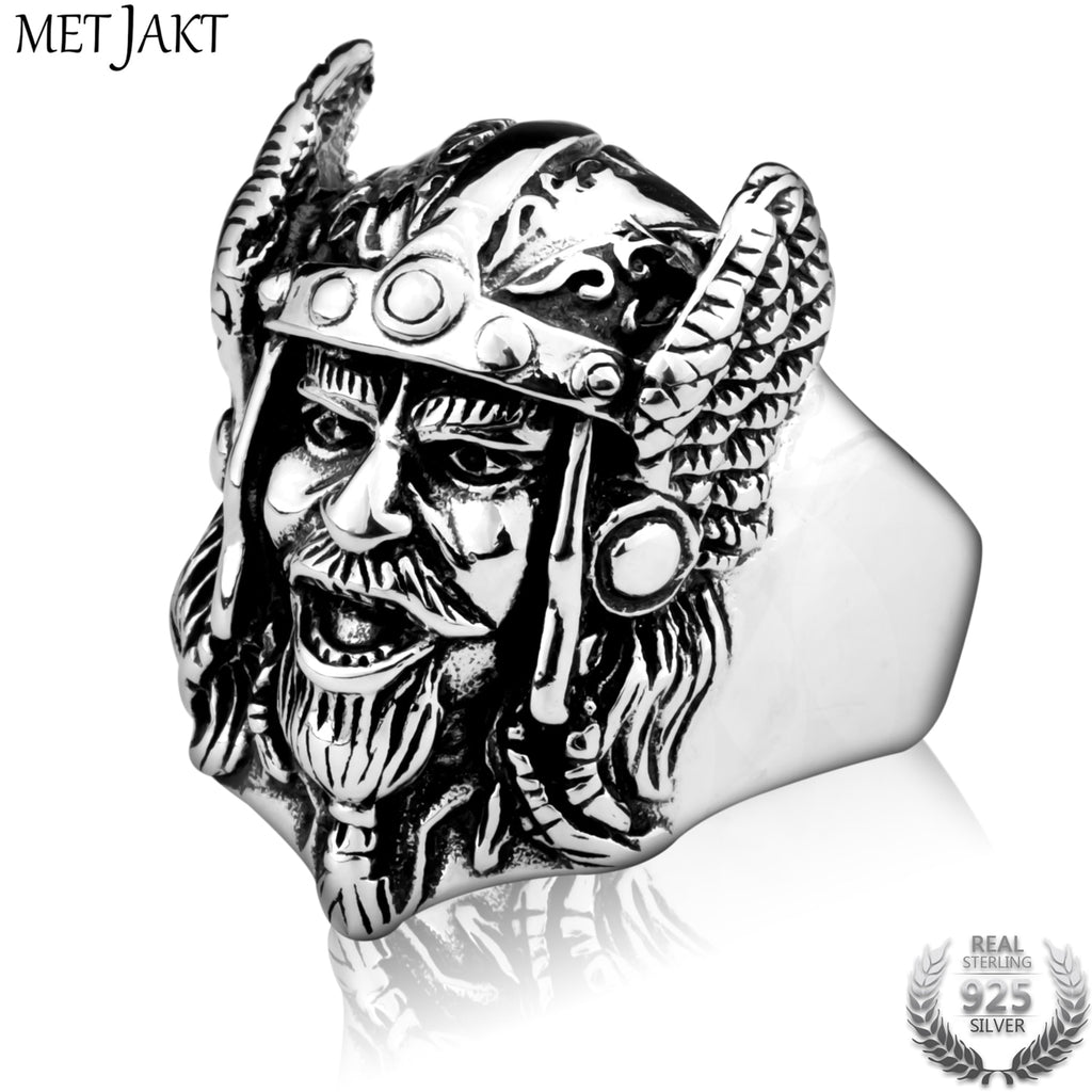 Men's Punk Viking Ring Solid 925 Sterling Mask Silver for Men Personalized Jewelry