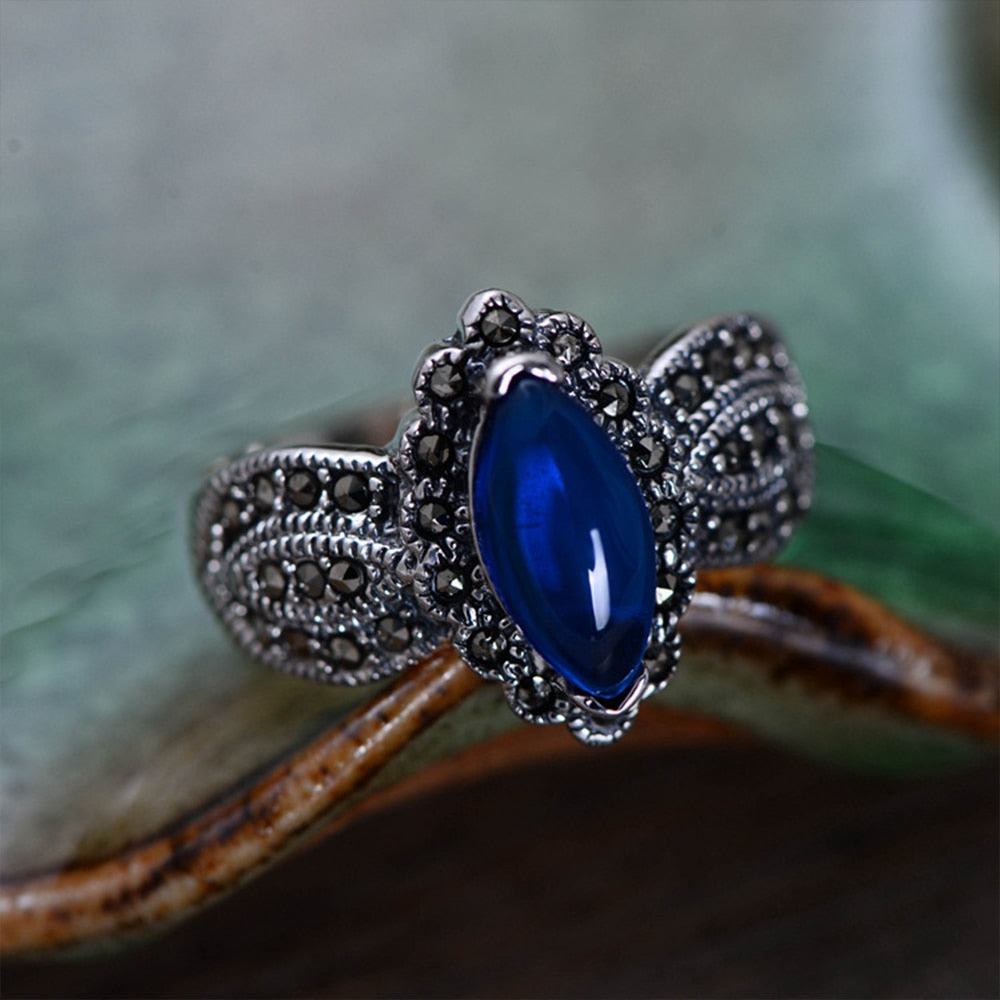Natural Blue Corundum Ring with Zircon Solid 925 Sterling Silver Rings for Women Party Wedding Vintage Thai Silver