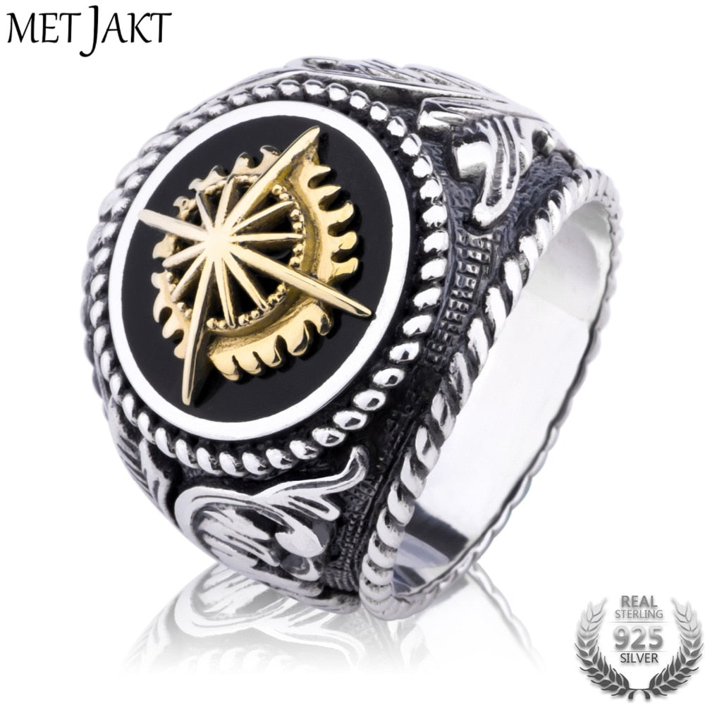 Vintage 925 Sterling Silver Open Ring & Hand Carved Golden Sun Pattern for Personality Men Punk Jewelry Ring Face 2.2cm