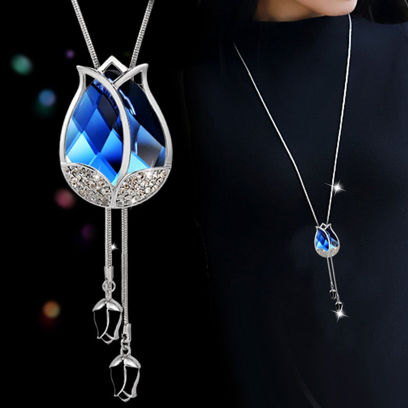 Big Opal Tulip Women Long Necklace Fashion Crystal Choker Necklace Pendant Silver Color Sweater Chain Jewelry Gifts