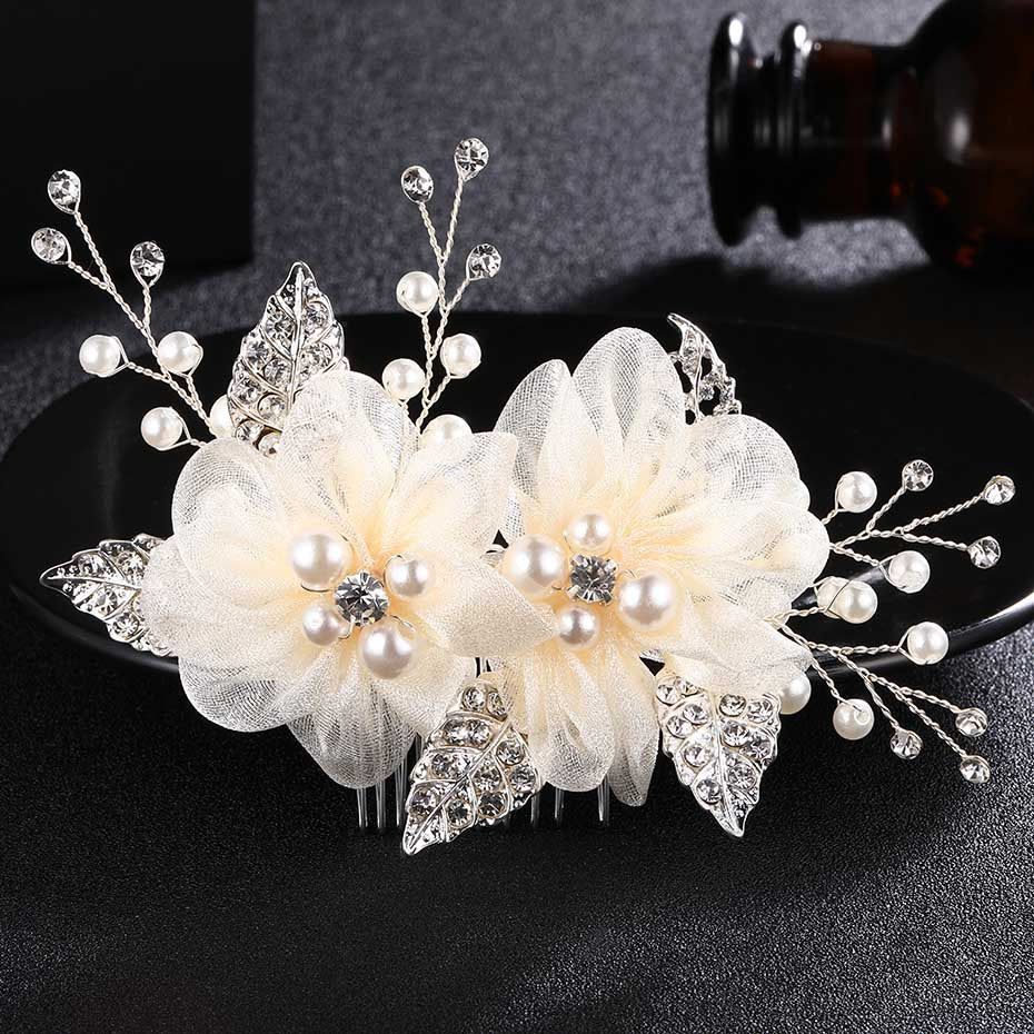 Miallo Charm Ivory White Silk flower Hair Comb for Brides Handmade Wedding Bridal Accessories hair comb Wedding Hair Jewelry