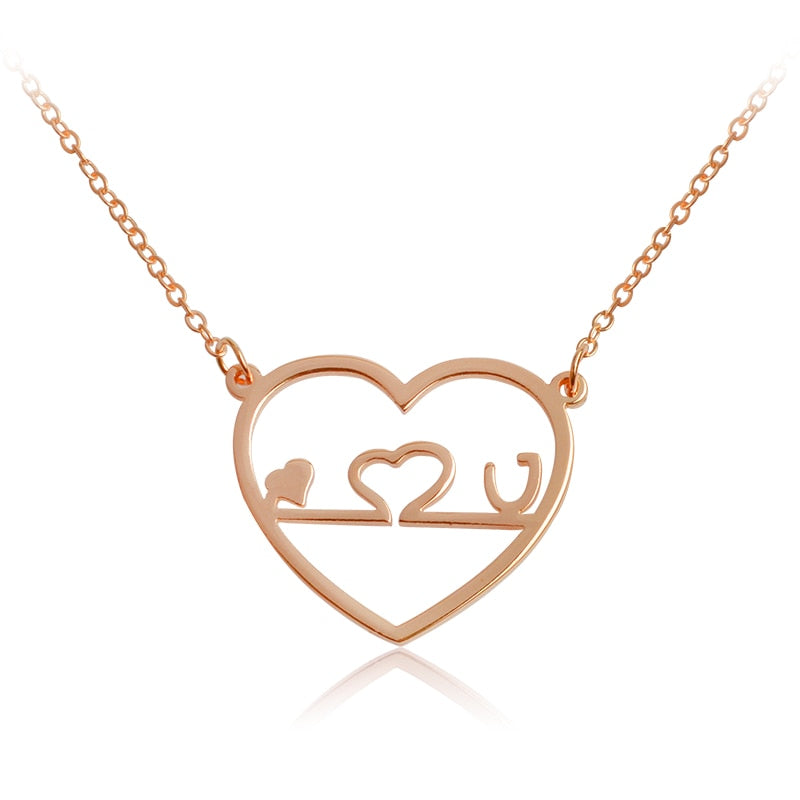 Miss Zoe ECG Stethoscope Love You Pendant Necklace Heart Shape Rose Gold Silver Jewelry Gift for Doctor Nurse Lovers Women Men