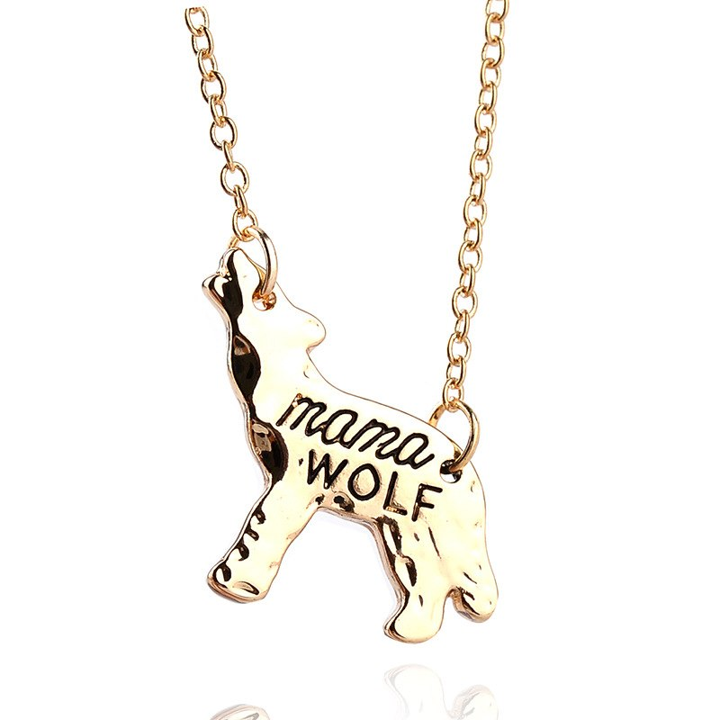 mama WOLF Animal Pendant Necklace Gold Silver Mother Love Birthd Gift for Mommy Simple Fashion Jewelry