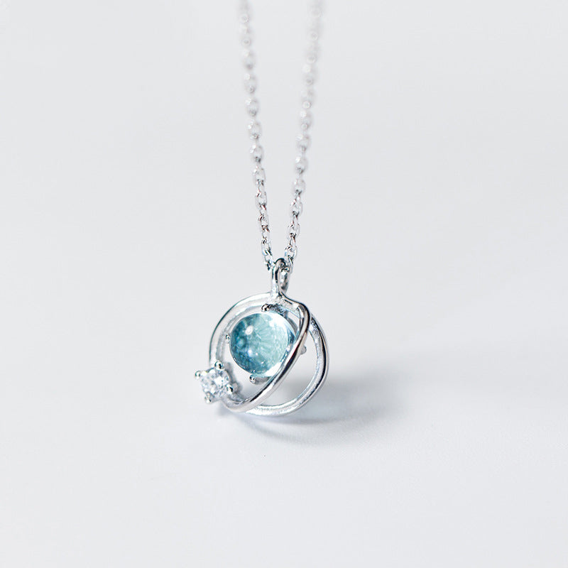 Hot Sale 925 Sterling Silver Aurora Space Planet Pendant Necklaces for Women Pretty Stone Necklace Pendant