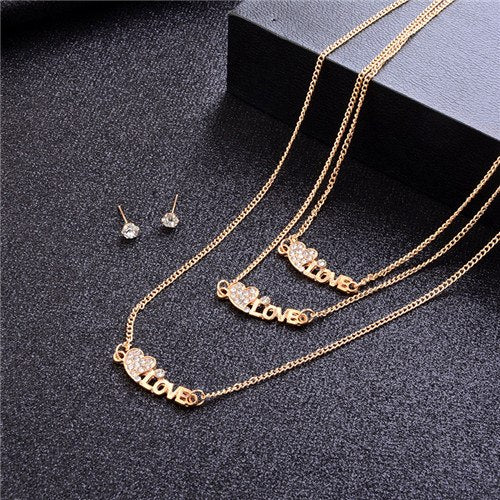 Women Wedding Fashion Crystal Heart Love Jewelry Set Necklace Earring Chain Bridal African Beads Crystal Accessories
