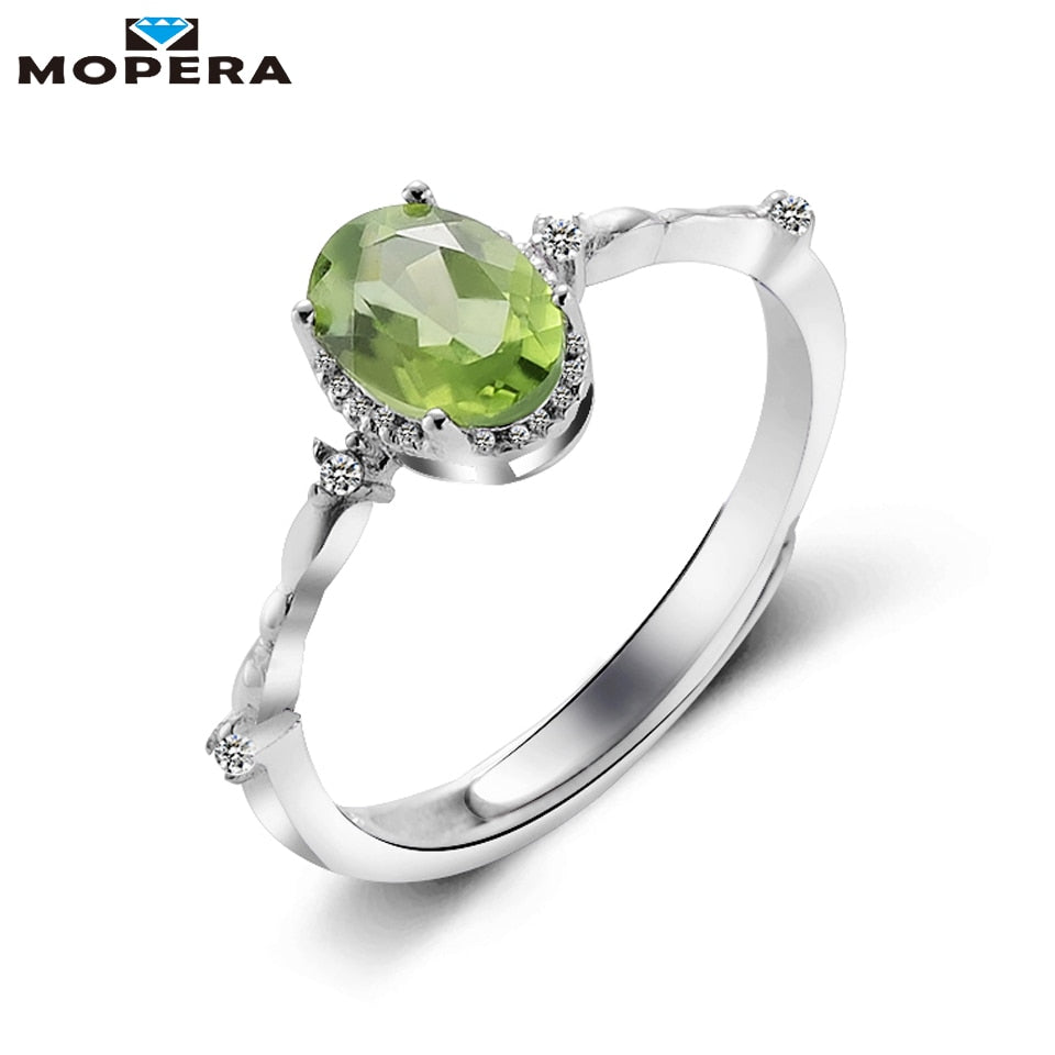 Hot Sale Lady 5mm*7mm 0.86ct 100% Natural Peridot Ring Female Sterling Silver Jewelry Wedding Engagement Rings For Women