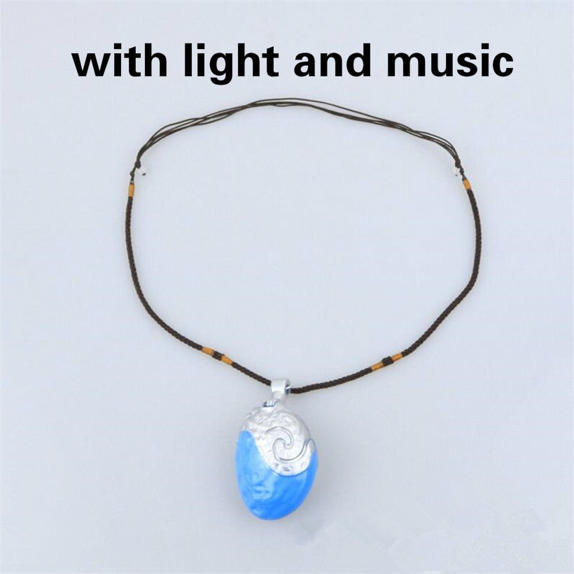 Music And Led Light Moana Ocean Rope Chain Princess Necklaces Pendant Blue Stone Movie Figures Action Gift