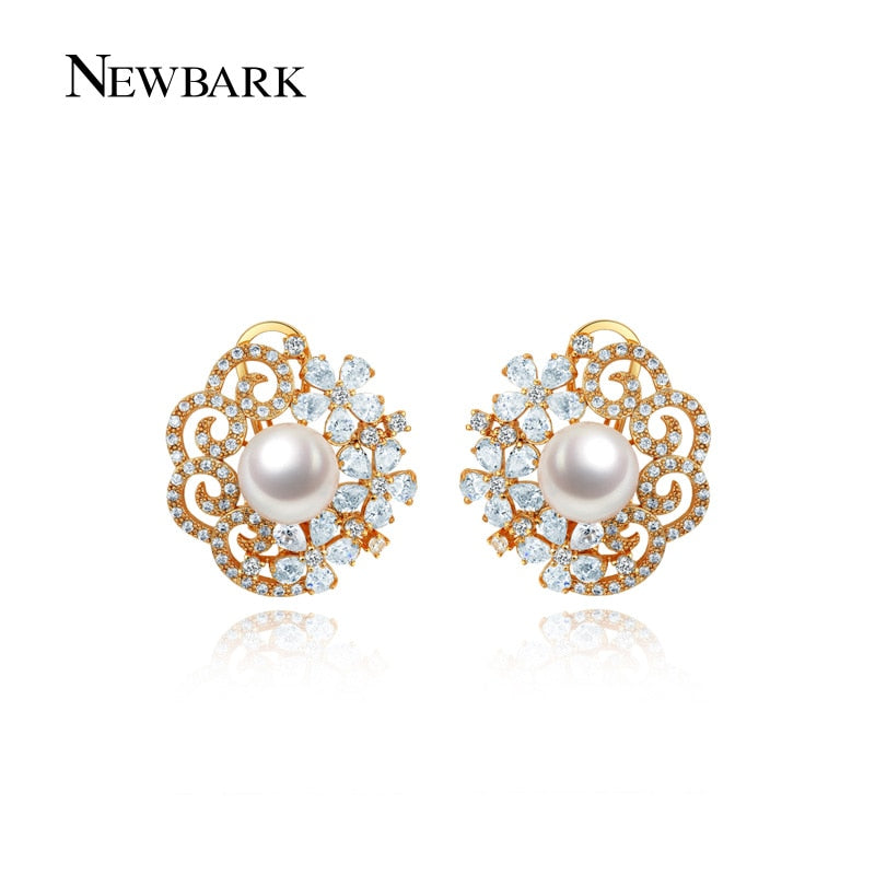 Big Simulated Pearl Stud Earrings Flower Rose Gold Color Hollow Earring Tiny CZ Jewelry For Women Brincos Gift