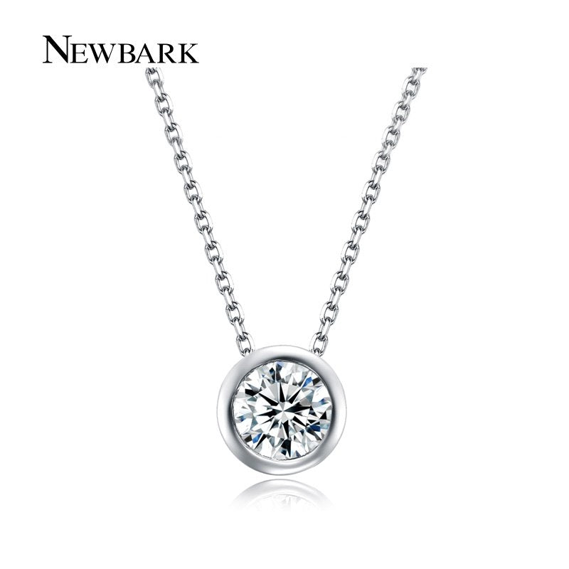 Simple Round 1 Carat Cubic Zirconia Solitaire Pendant Necklace Bezel-Set Wedding Silver Color Women Jewelry Gifts