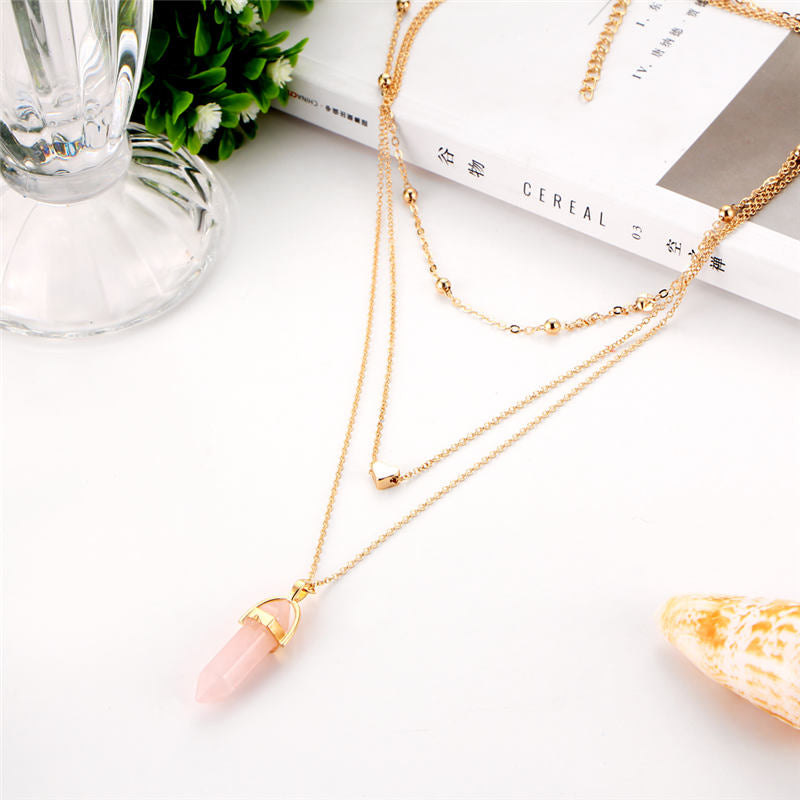 2017 Fashion Natural Stone Choker Necklace Hot Sale Trendy Heart Double Layers Gold-Color Chain Women Pendant Necklace