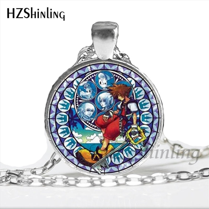 NS-00759 New Arrived Kingdom Hearts Necklace Handmade Round Kingdom Hearts Jewelry Glass Dome Art Photo Pendant Necklace HZ1