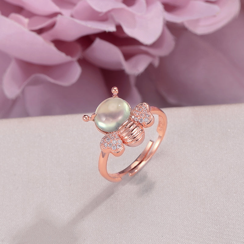 Natural Gemstone Rings for Women 925 Silver 8*6mm Prehnite Fine Jewelry Lovely Bee Adjustable Ring Bridal Wedding Bague R-PR007