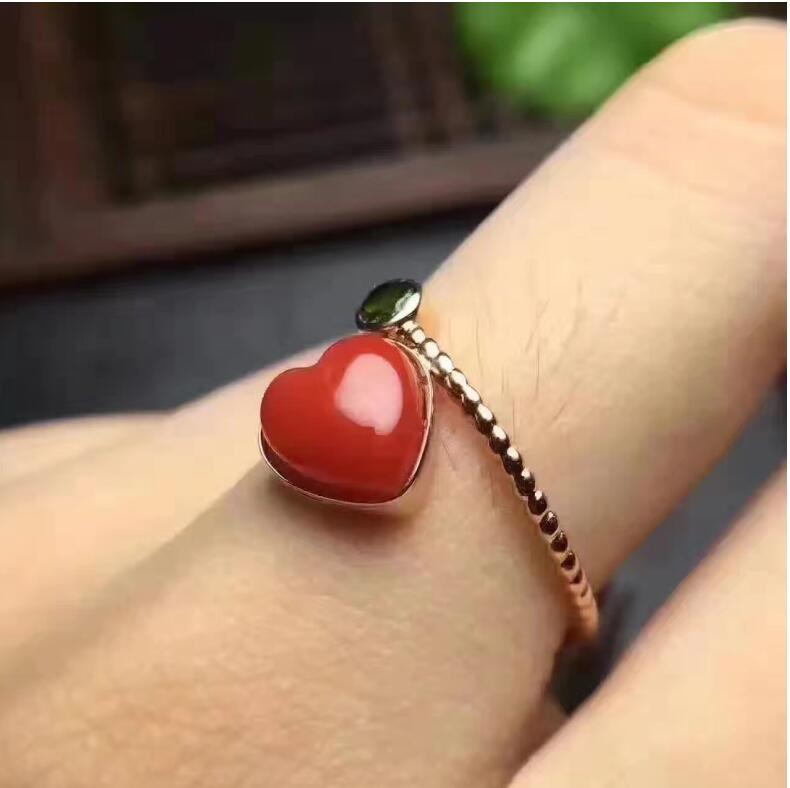 Natural ruby ring Free shipping Natural and real ruby 925 sterling silver Lovely Heart style 6mm