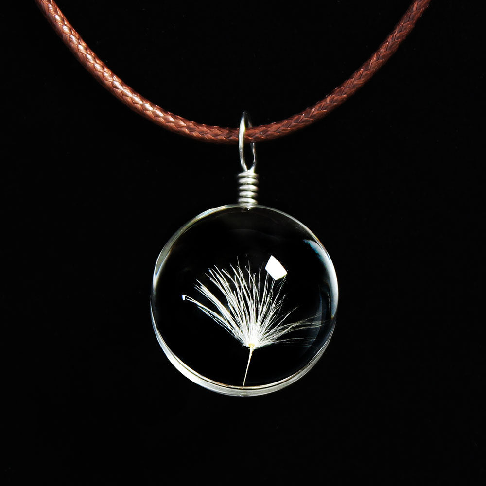 Necklaces & Pendants Crystal Long Necklace Women 2018 Silver Gold Handmade Glass Dried Flowers Dandelion Pendant Necklace Women