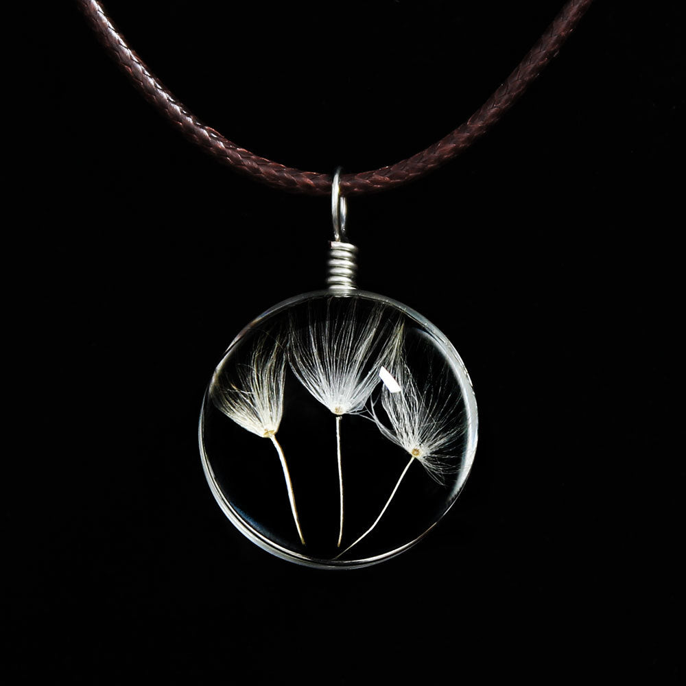 Necklaces & Pendants Crystal Long Necklace Women 2020 Silver Gold Handmade Glass Dried Flowers Dandelion Pendant Necklace Women
