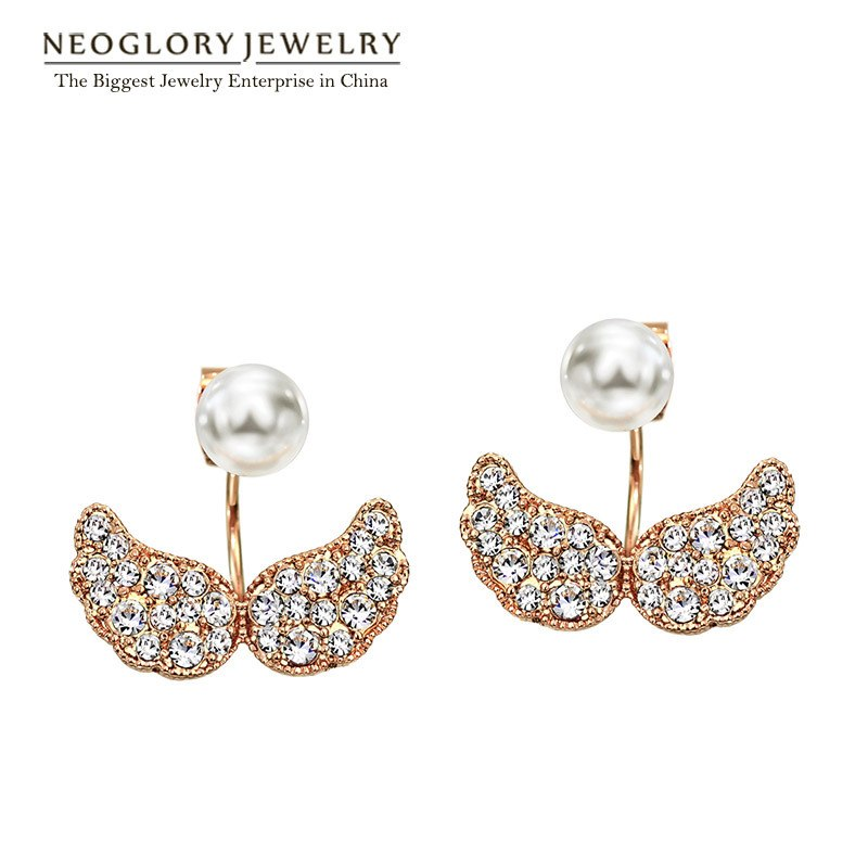 Rose Gold Color Simulated Pearl Rhinestone Fashion Double Stud Earrings for Women Jewelry 2020 New Pea-1 Goldp EA1