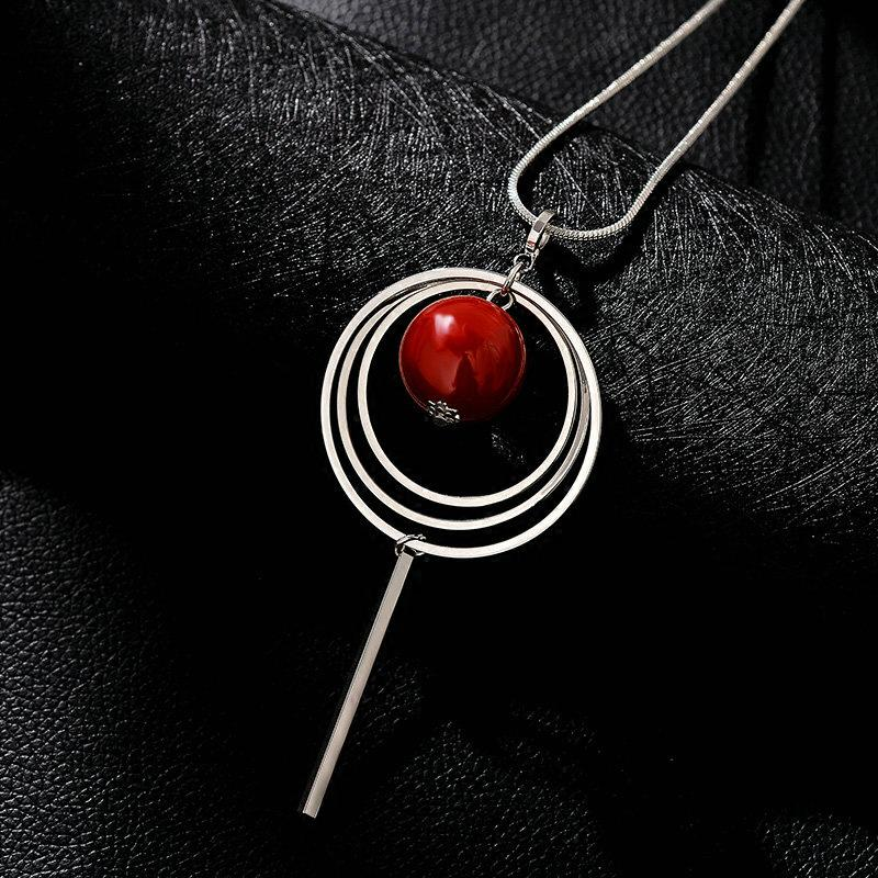 New Arrival Women Pendant Necklaces Circle Water Long Red Beads Necklace Fashion Necklaces & Pendants Jewelry Accessories 2020