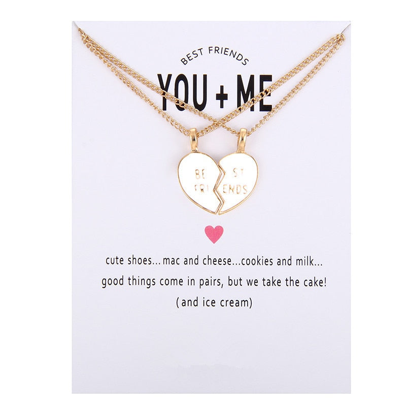 New Arrived glaze Friends Broken Heart Best Friend You And Me Alloy Clavicle Pendant Necklace Jewelry