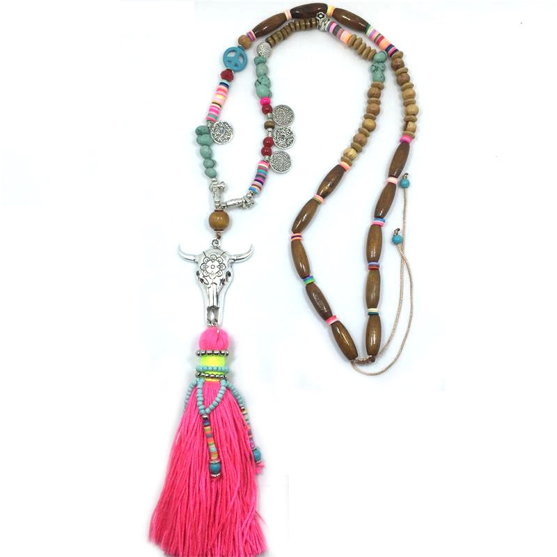 New Ethnic Handcraft Tibet Silver Tauren Vintage Jewelry Leather Tassel Long Necklace Pendants