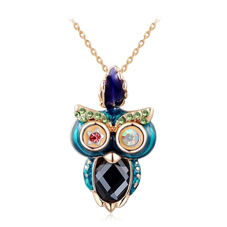 New Fashion Jewelry Classic Necklaces The British Style With Crystal Enamel Owl Pendants For Girls Gift Free Shipping