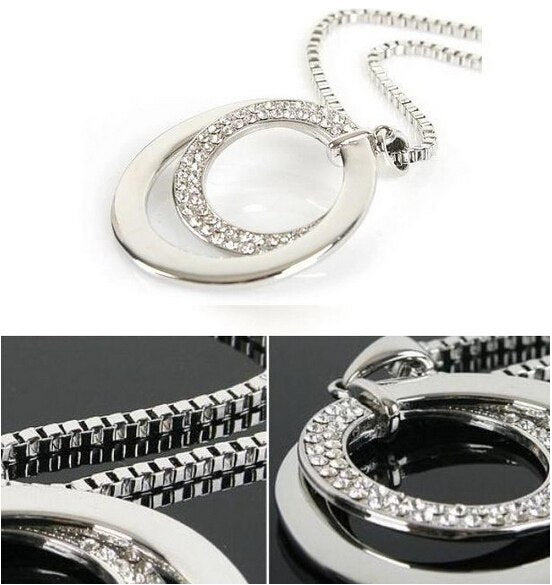 New Fashion Pretty Women's Silver Plated Crystal Rhinestone Statement Long Double Circle Pendant Charm Necklace
