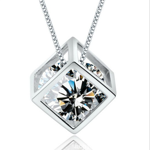 New Fashion Silver Magic Cube & Cone Dazzling Crystal Pendant Necklace For Women Charm Fine Jewelry