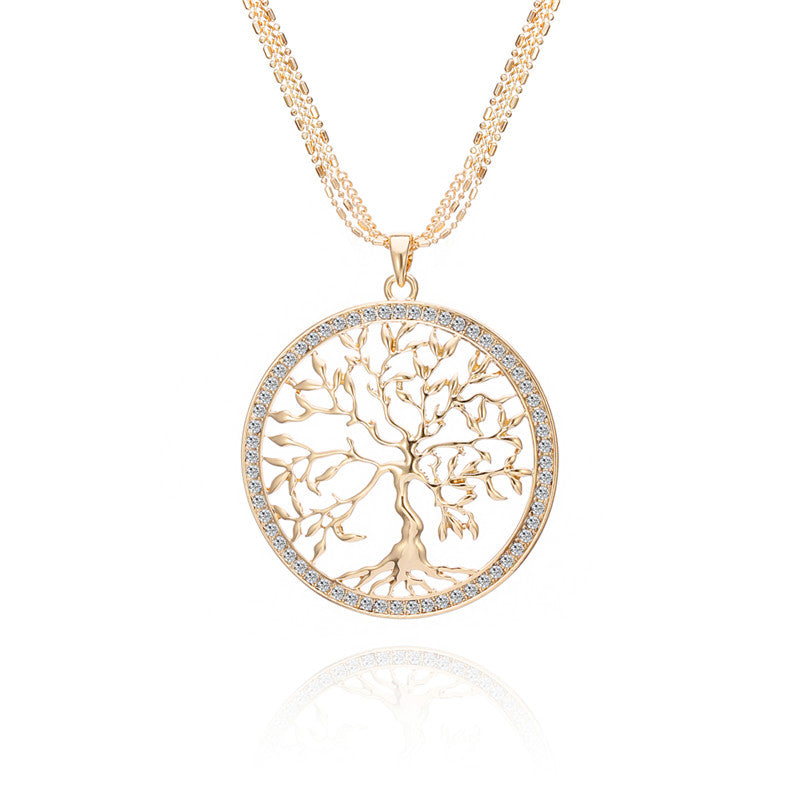New Fashion Tree of life Pendant Necklace CZ Crystal Gold Silver Colors Elegant Long Chain Sweater Necklace dropshipping Gift