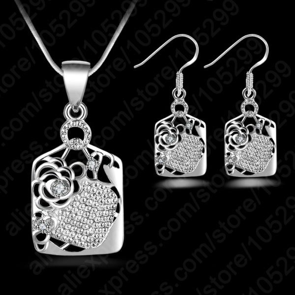 New Limited Wedding 2017 Wholesale Cubic Zirconia Jewelry Sets 925 Sterling Silver Pendants Necklaces Dangle Earring For Women