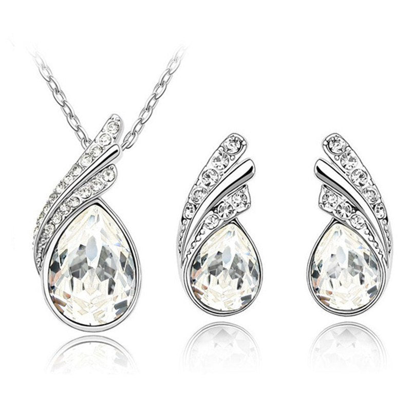 New Limited Wedding 2020 Wholesale Austrya Crystal Jewelry Sets Water Drop Pendants Necklaces Wing Earring Set for Women 42133