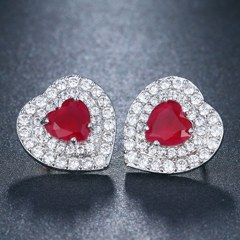 New Red Top Quality Heart Earrings For Women Love Small Ear Studs Fashion Jewelry 2018 Bride Earrings Brincos AE562