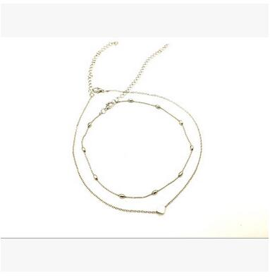 New Silver Gold Color Jewelry Love Heart Necklaces & Pendants Double Chain Choker Necklace Collar Women Statement Jewelry Bijoux